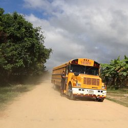 Taking the bus heading North, Honduras (photo by Marc Silver)