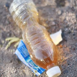A bottle of urine found along a migrant trail (photo by Marc Silver)