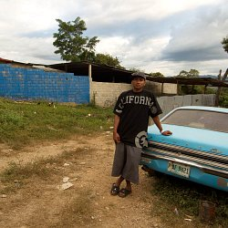 Resident of El Escanito, Honduras having returned from the US (photo by Marc Silver).